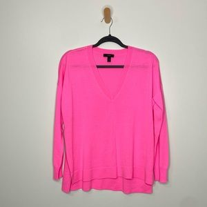 J. CREW Neon Pink V Neck Merino Wool Sweater XS